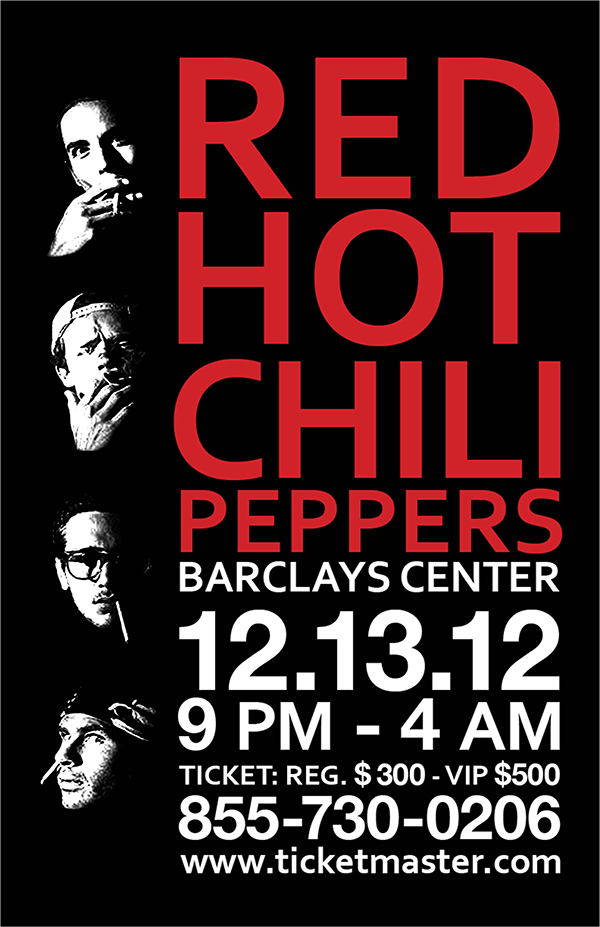 red hot chili peppers poster project on behance. Black Bedroom Furniture Sets. Home Design Ideas