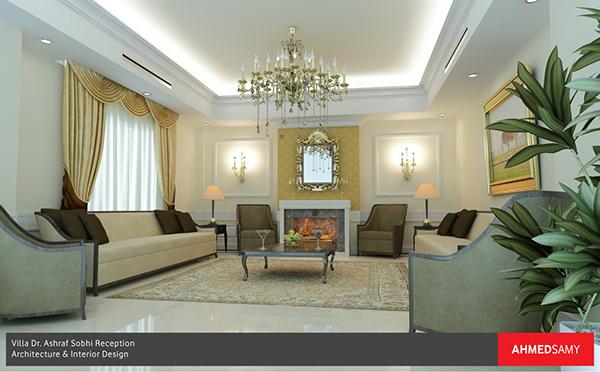 Residential villa classic reception interior design on behance - Residential interior design jobs ...