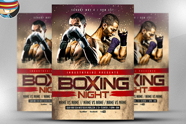 boxing night flyer template on behance