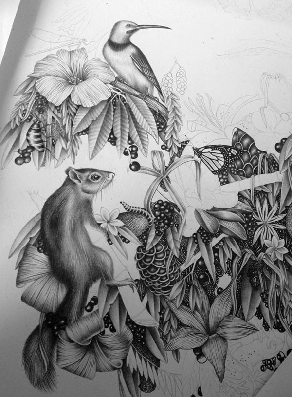 pencil black & white gorilla monkey AMI pattern textile animal black coal
