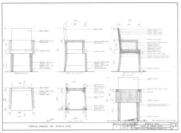 Furniture Working Drawings Working Drawing of Sofa Chair