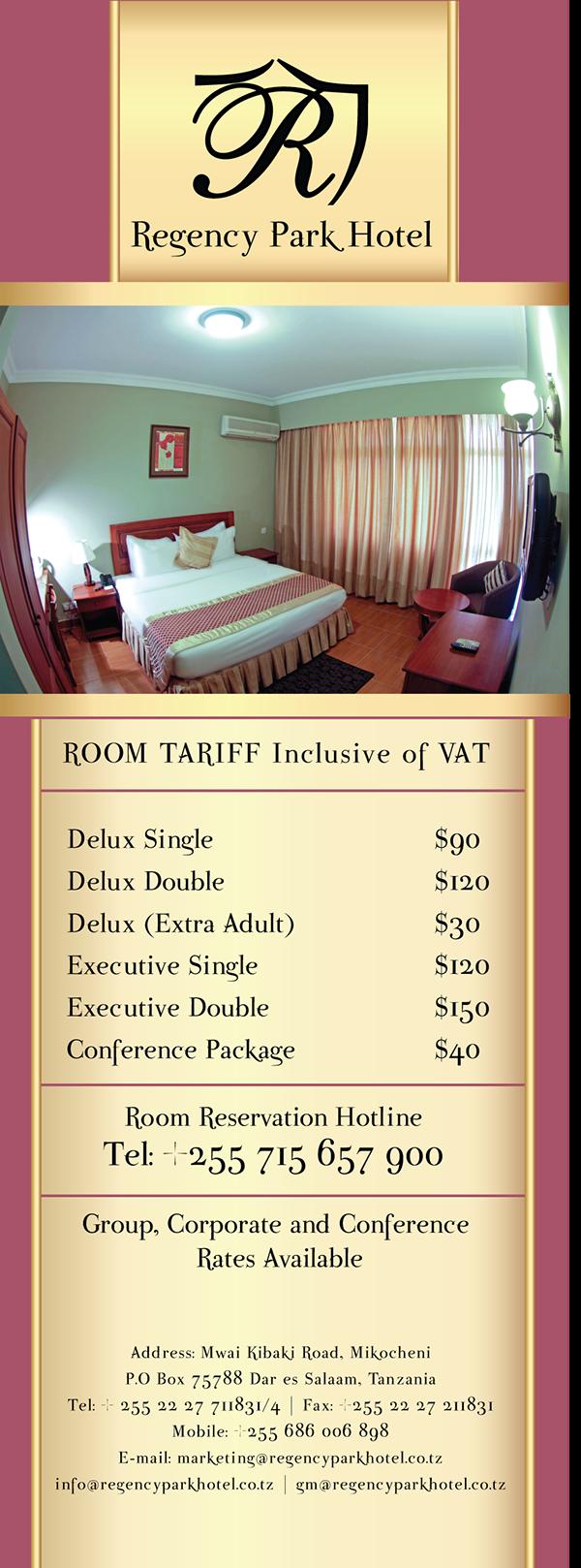 Regency Park Hotel Room Rate Card On Pantone Canvas Gallery