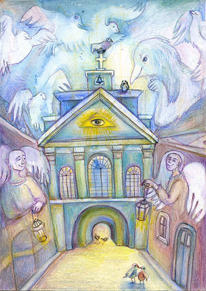 city ILLUSTRATION  wolf churches children