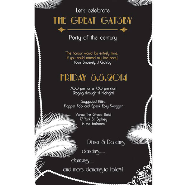 Great Gatsby invitation on Behance