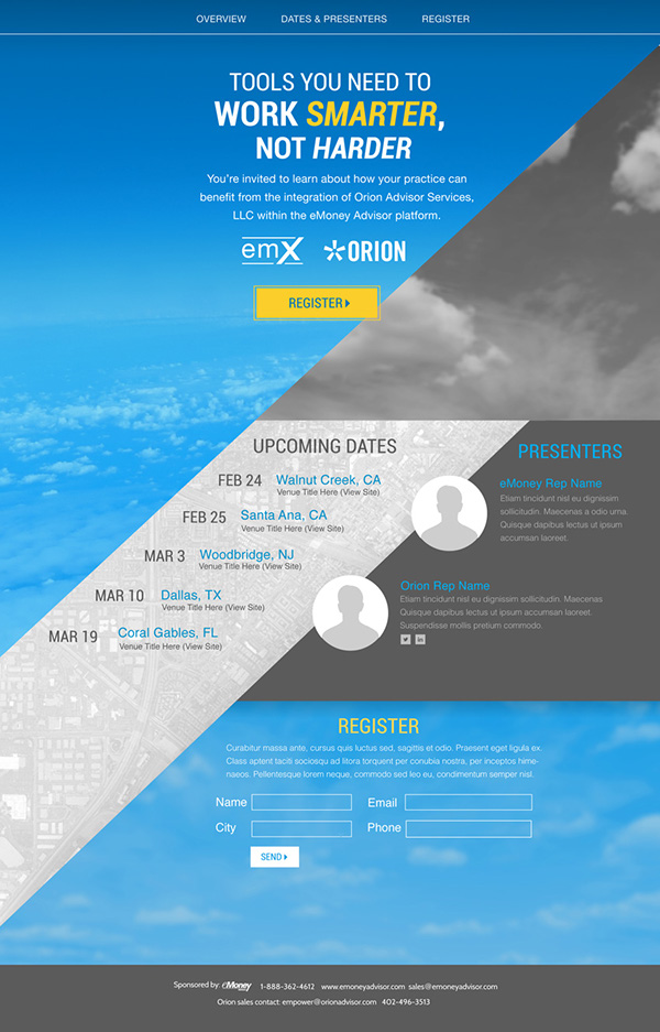 Orion & eMoney Web Page on Behance