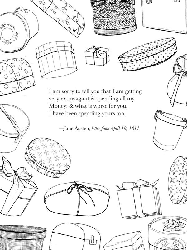 Jane Austen Coloring Book On Fit Portfolios