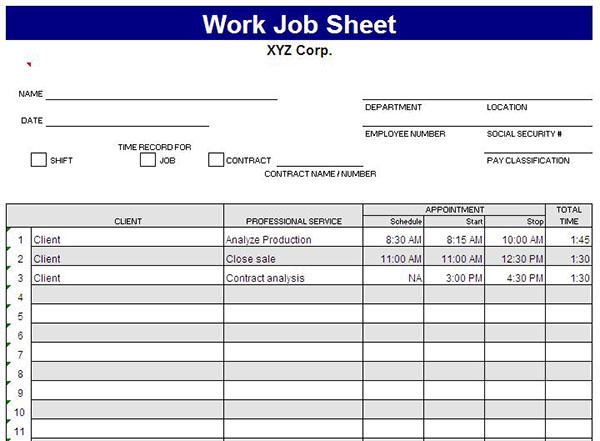 job order sheet template