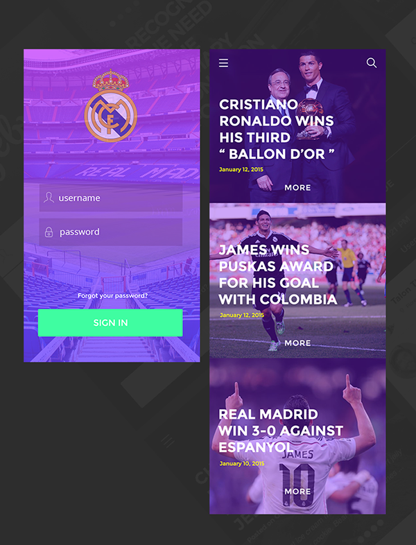 Appdesign football app app ios Real Madrid