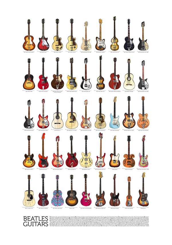 beatles guitars all of them on behance. Black Bedroom Furniture Sets. Home Design Ideas