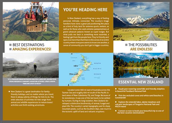 Trifold Travel Brochure New Zealand On Behance