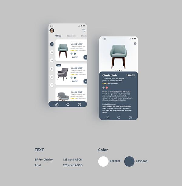 Furniture app UI