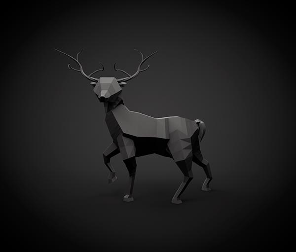 deer gray low poly - photo #9