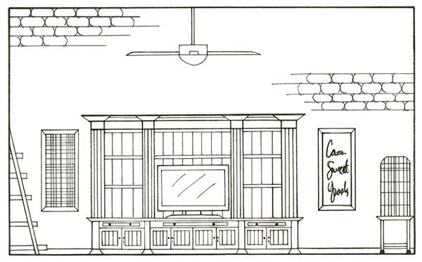 Interior design studio 1 residential design on scad for Dining room elevation