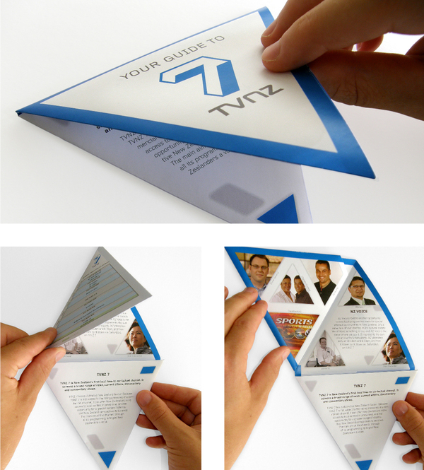 tvnz 7 triangular folding brochure on behance