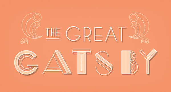 Great Gatsby gatsby type lettering experimental peach pink art deco movie The Great Gatsby MICA maryland institute college