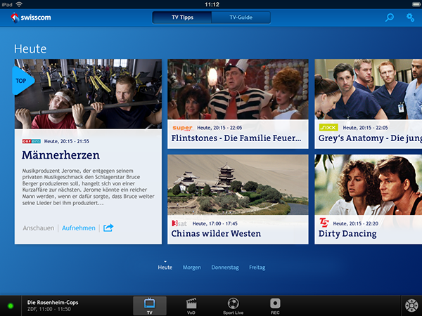 Swisscom TV Guide & Remote Control iPad App - 2011/2012 on Behance
