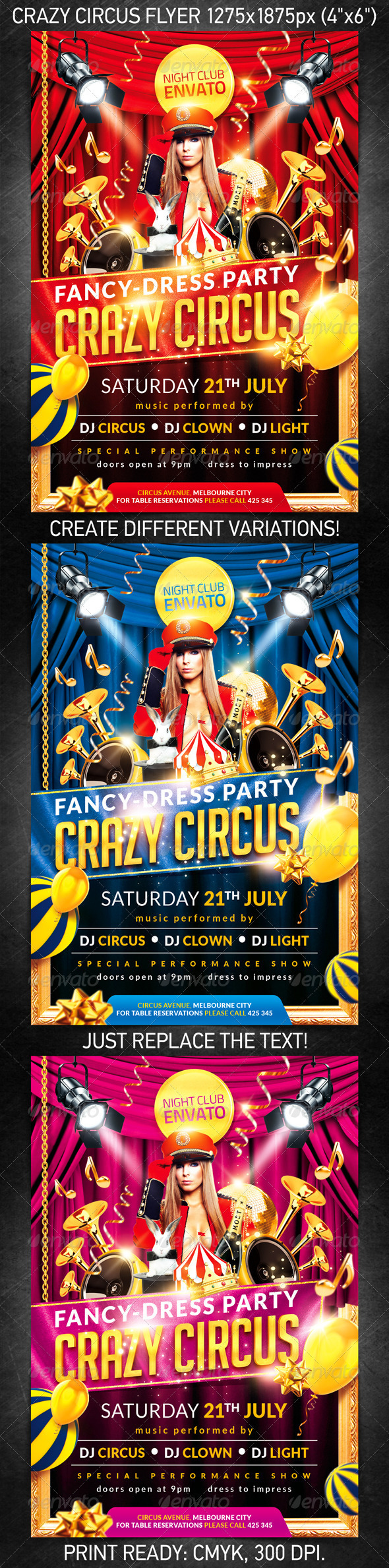 Crazy Circus Party Flyer, PSD Template on Behance