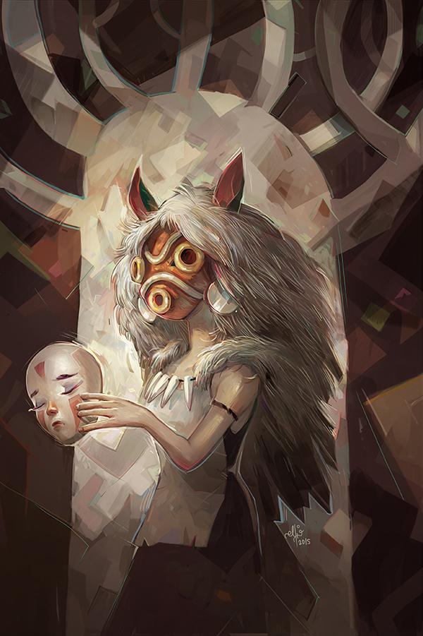 Princess Mononoke Fan Art by Ellie Yong