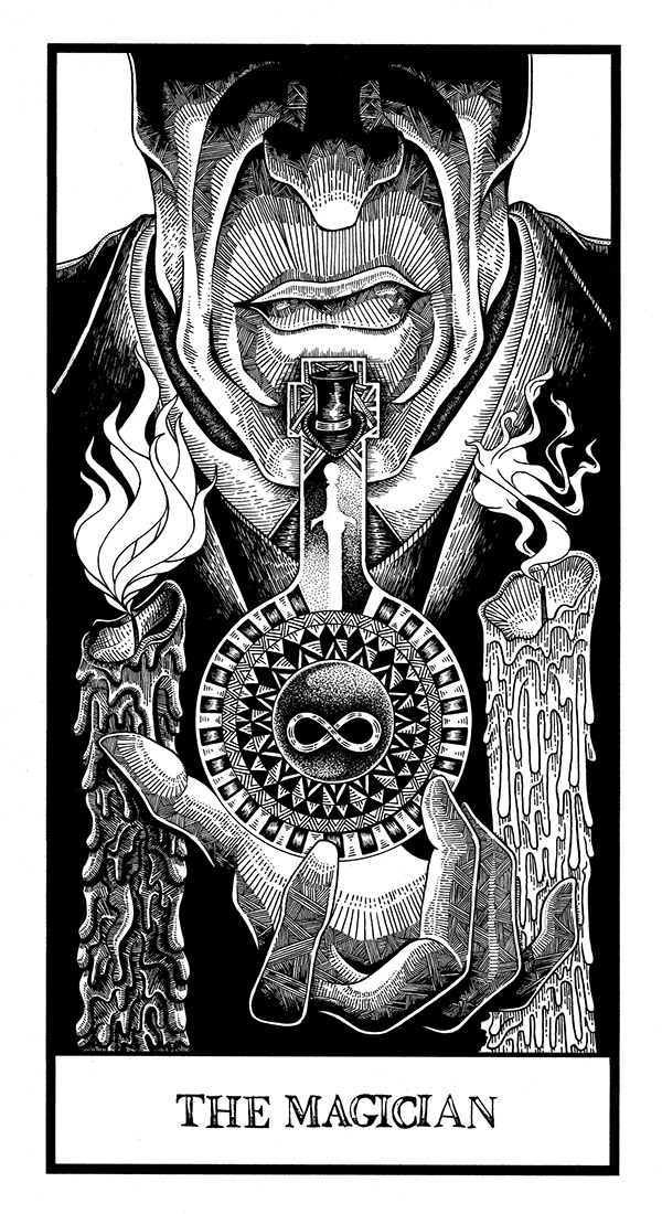 tarot cards thesis potion wheel magician devil pen ink tower