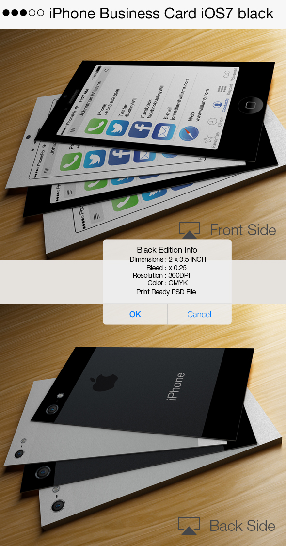 Iphone business card ios7 black on behance reheart Images