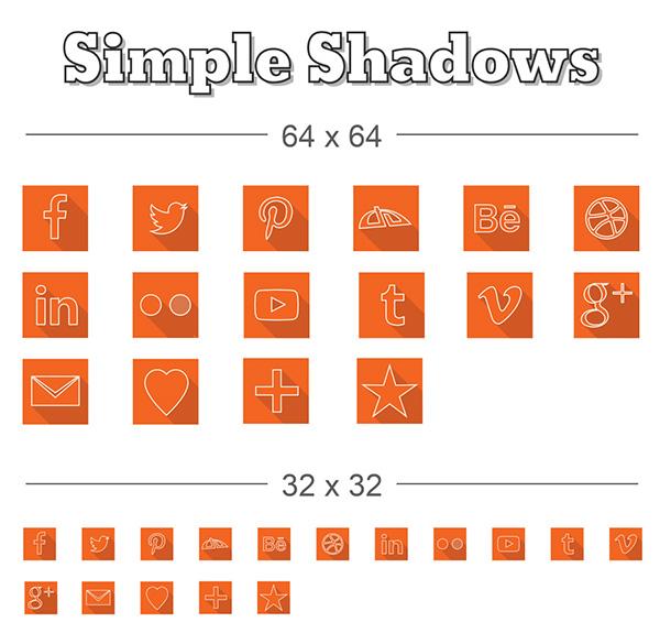 icons,simple,long shadow,social media,elegant,orange,ai,vector,free,design elements,Web Elements