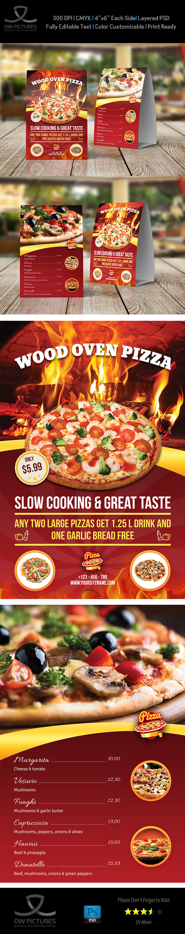 Pizza Restaurant Table Tent Template Vol On Behance - Restaurant table tent template