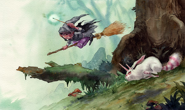 witch bunny unicorn forest girl race Hunt