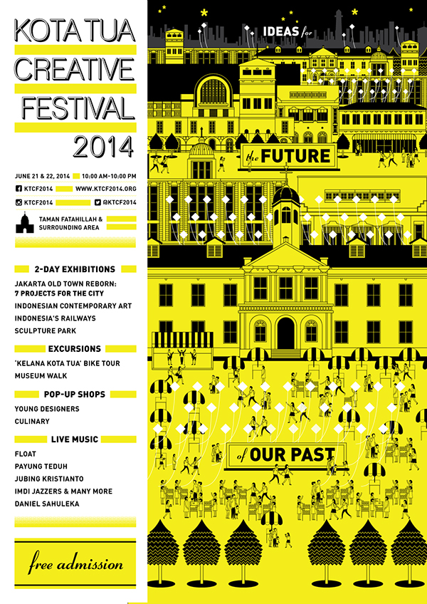 Kota tua creative festival indonesia jakarta architect Shau installation Kite yellow black