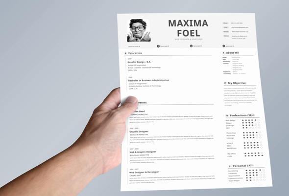 single page resume template on behance