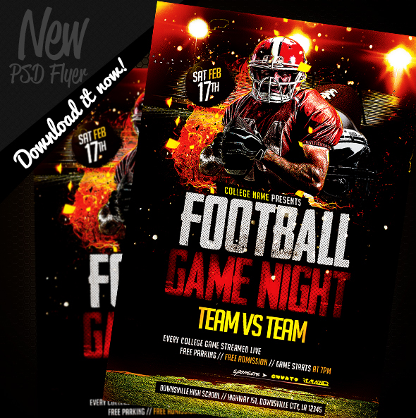 Football Game Night | Flyer Template PSD on Behance