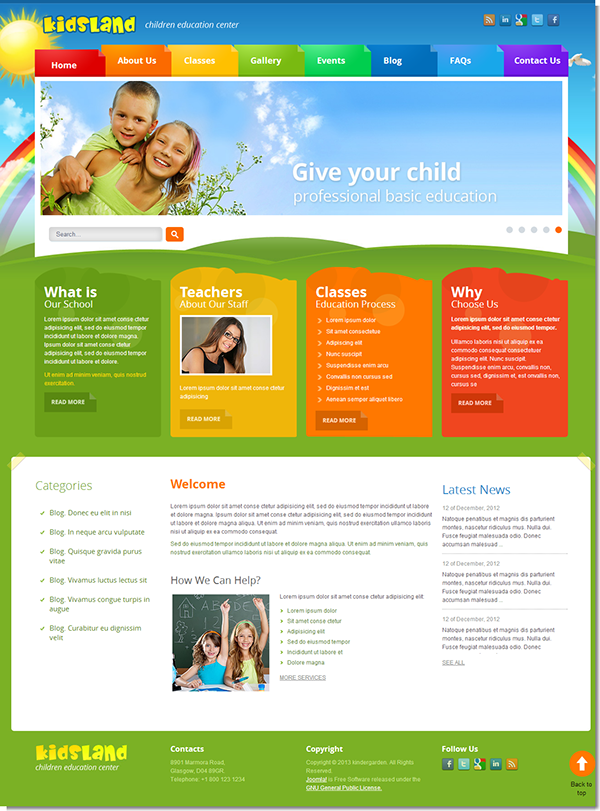 Kids land children education center joomla template on behance maxwellsz