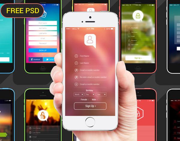 12 high quality register app psd screens on behance