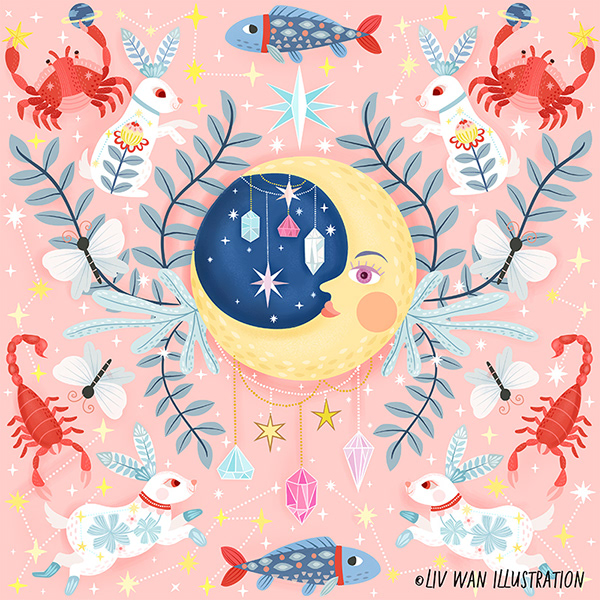 Mystic Moon Pastel Pattern Illustration Collection on Wacom