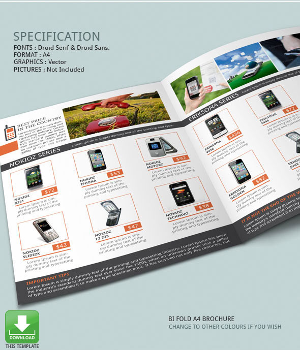 Mobile Phones Brochure Template On Behance - Promotional brochure template