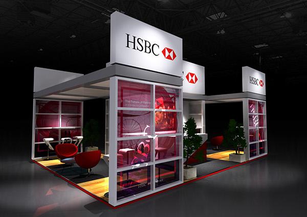 Exhibition Stand Visualisation : Hsbc exhibition stand design & 3d visualisation on behance