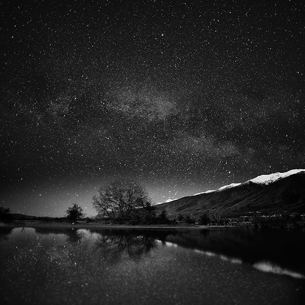 astrophotography lakes stars black and white color long exposure Greece tangoulis