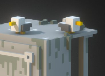 voxel 3D pirate Island ruins boat modelling modeling