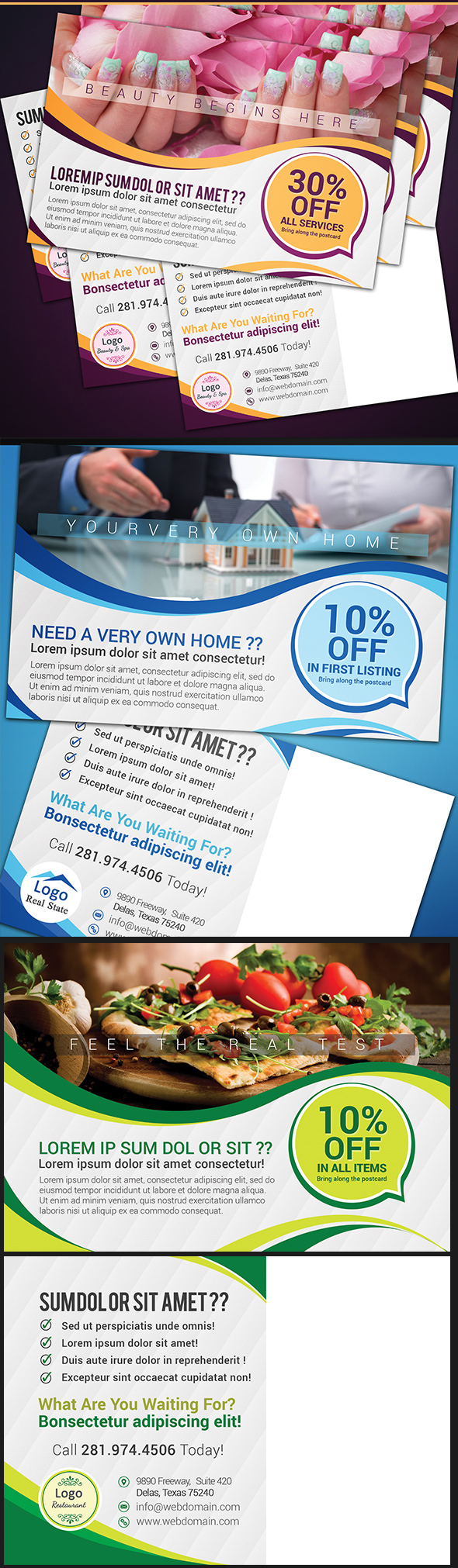 Free Postcard Template for Restaurant Real-state & SPA on