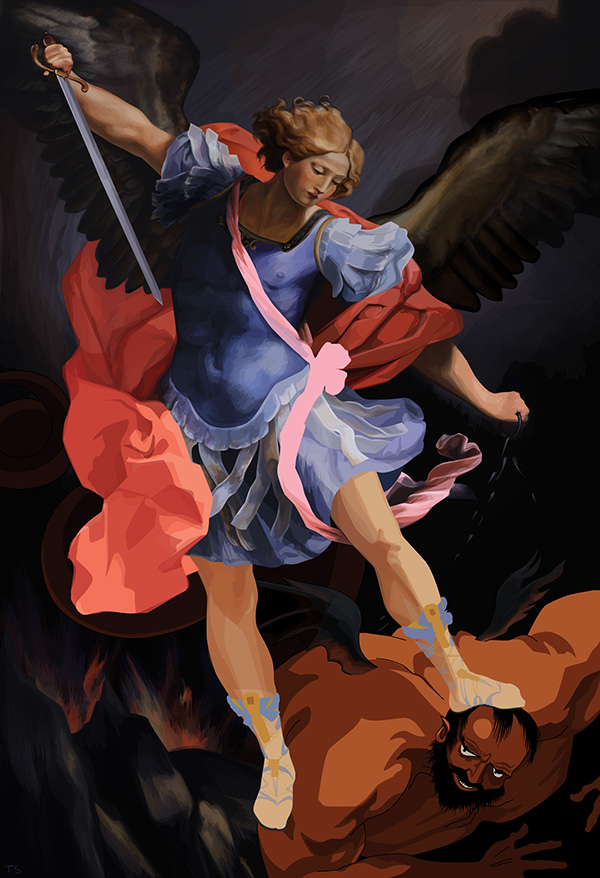 Archangel Michael defeating Satan (after Guido Reni) by Thea Stevens
