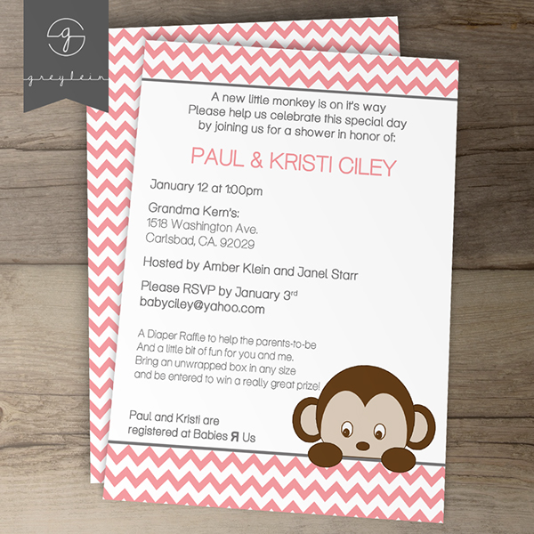 custom monkey chevron baby shower invitations diy printable