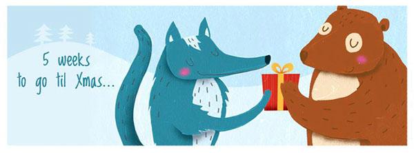 Christmas xmas greetings greeting card seasonal Self Promotion postcard animal forest winter snow present gift Love