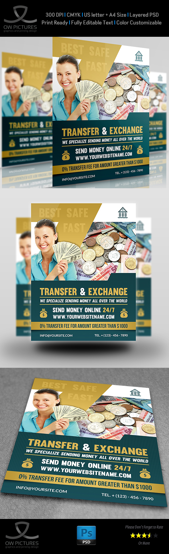 transfer exchange money flyer template on behance
