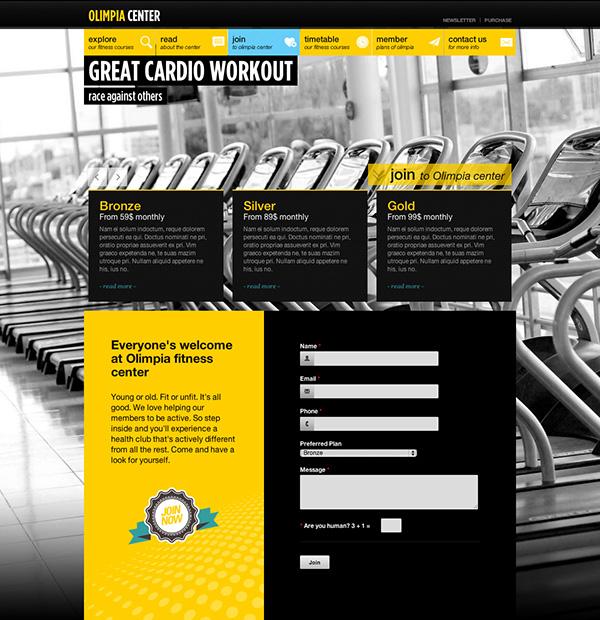 Responsive  HTML5  css3 fullscreen  fitness center