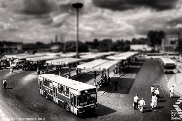 Tilt-shift Miniature public transport Travel poland black and white transportation city urban exploration impression bus road traffic