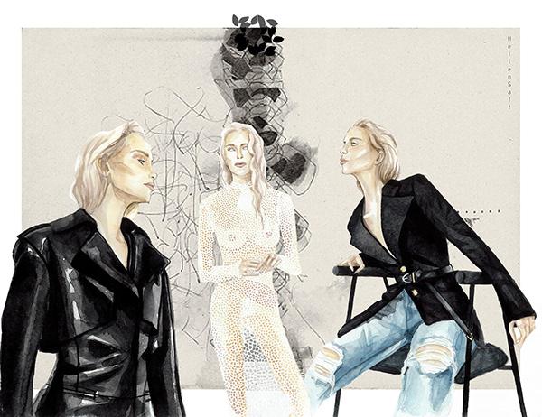 Fashion illustration Khaite spring 2019