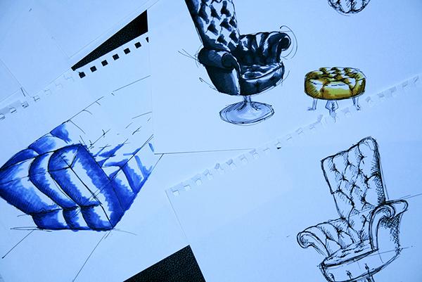 Bretz Möbel interial design copics Scatches scribble