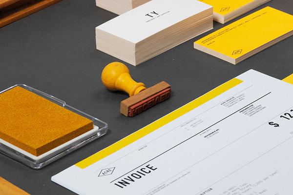 Stationery yellow din studio invoice business card logo identity