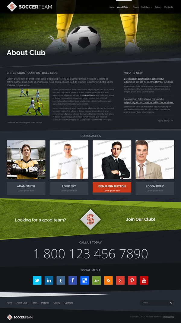 Soccer Team Club Twitter Bootstrap HTML Template on Behance