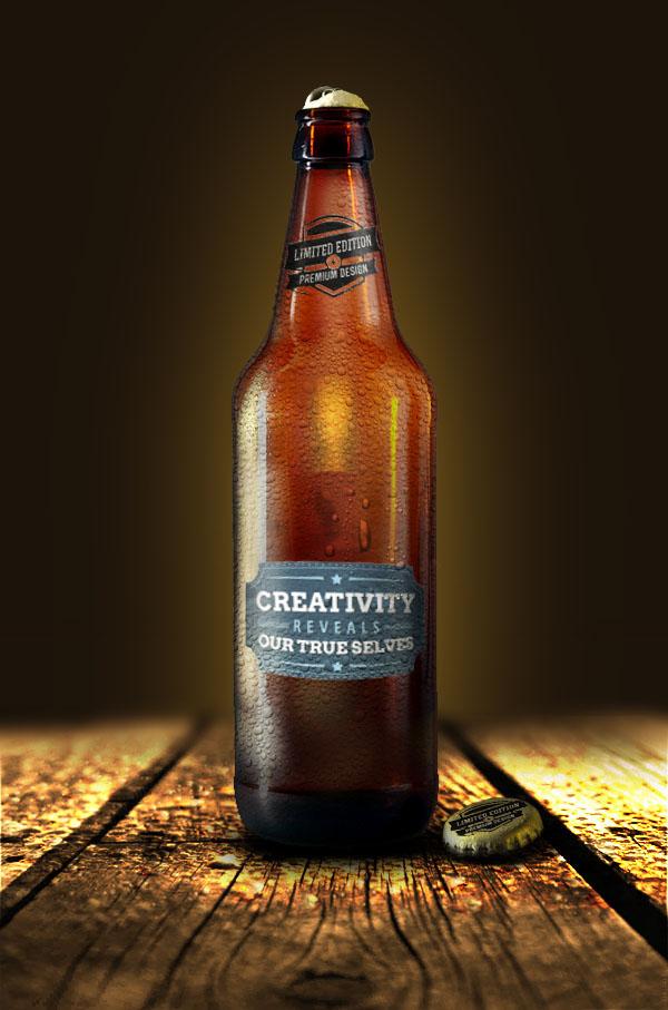 freebie mock-up presentation bottle glass realistic