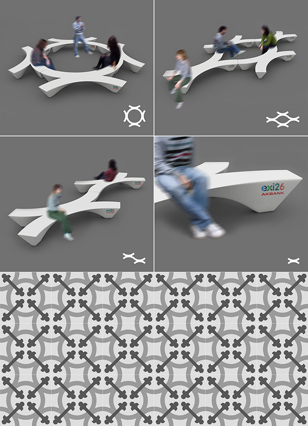 corian Landscape bench Akbank exi26 ypsilontasarim ypsilon tasarim istanbul Turkey humancities modular Urban University pattern